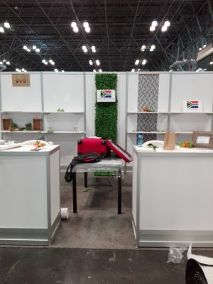 Setting up for the Beauty Expo in New York.